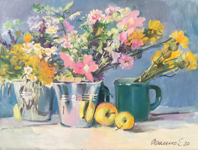 Ситцевый букет. Картина с полевыми цветами, Картины, Ставрополь,  Фото №1