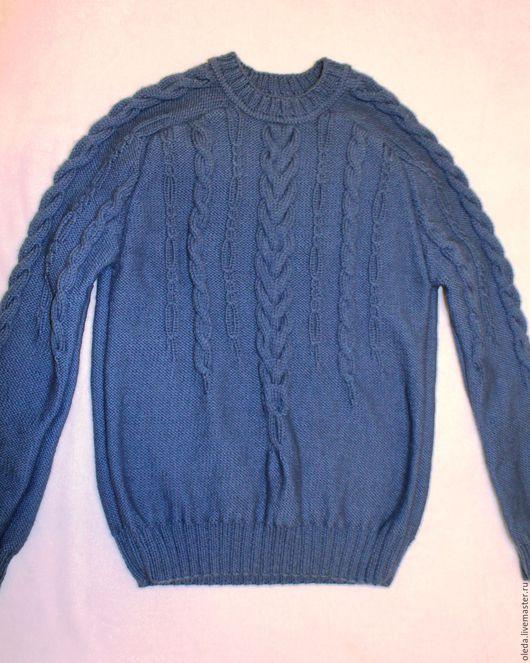 Для мужчин, ручной работы. Ярмарка Мастеров - ручная работа. Купить Синий пуловер регланом. Handmade. Тёмно-синий, реглан