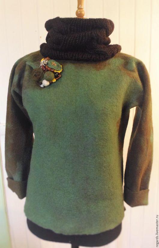 Кофты и свитера ручной работы. Ярмарка Мастеров - ручная работа. Купить Свитер Валяный. Handmade. Тёмно-зелёный, одежда, на праздник