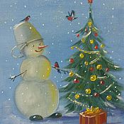 Картины и панно ручной работы. Ярмарка Мастеров - ручная работа Снеговик. Handmade.