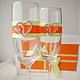 Свадебные аксессуары ручной работы. Ярмарка Мастеров - ручная работа. Купить Свадебные бокалы. Handmade. Оранжевый, бокалы на свадьбу