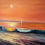 Картины и панно handmade. Livemaster - original item Oil painting. Sea sunset. Handmade.