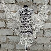 handmade. Livemaster - original item Shawl white openwork large knitted with knitting needles. Handmade.