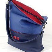 """Кожаная авторская сумка """"DJ"""", синий цвет."""