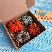 Для дома и интерьера handmade. Livemaster - original item Set of Knitted Pumpkins for Home for Halloween Holiday Decor. Handmade.