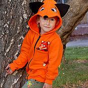 Одежда handmade. Livemaster - original item Children`s sweatshirt with zipper Fox, orange hoodie. Handmade.