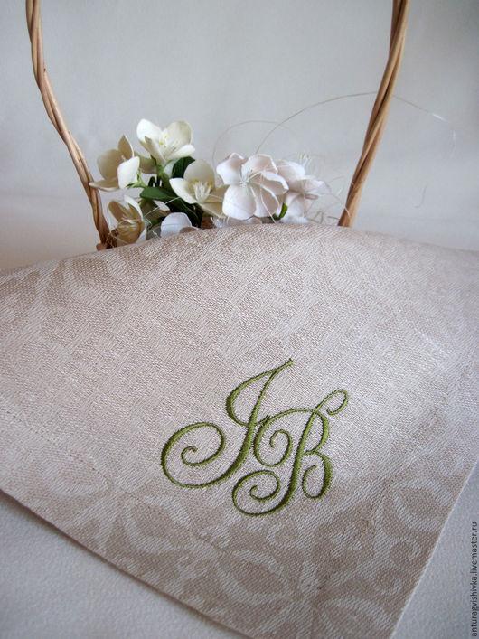 Вышитые салфетки, Свадебные салфетки, Монограмма, Салфетки с вышивкой, Подарок на свадьбу, Подарок на юбилей свадьбы