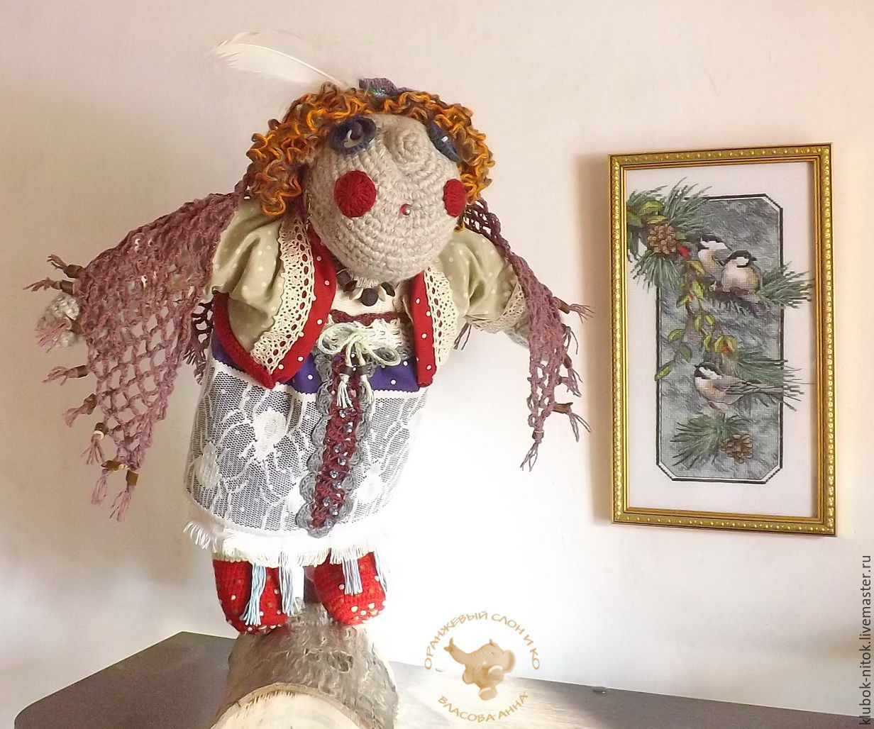 Interior doll the owl is the guardian of the forest art dolls in Russian style, doll stand, doll gift, handmade doll