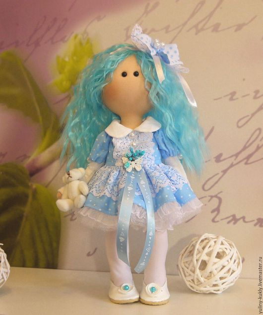 Коллекционные куклы ручной работы. Ярмарка Мастеров - ручная работа. Купить Текстильная куколка-малышка Мальвина. Handmade. Голубой, кружево