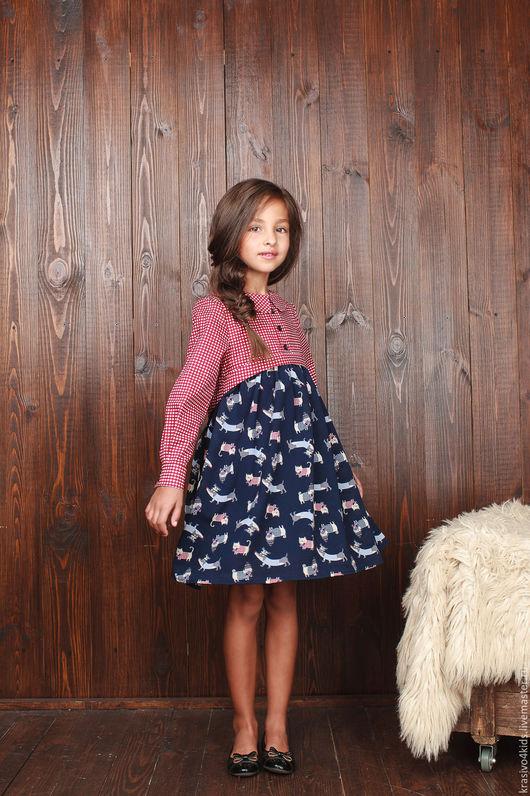 """Одежда для девочек, ручной работы. Ярмарка Мастеров - ручная работа. Купить Платье """"ALLURE Mix"""". Handmade. Тёмно-синий, хлопок"""