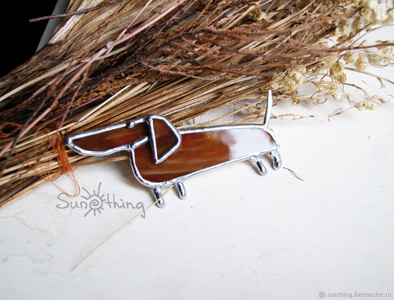 Dachshund brown with silver trim metal