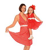 """Одежда ручной работы. Ярмарка Мастеров - ручная работа Платья для мамы и дочки """"Малинки"""" комплект. Handmade."""