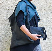 Сумки и аксессуары handmade. Livemaster - original item Handbag large leather Geometry with a strip of Black. Handmade.