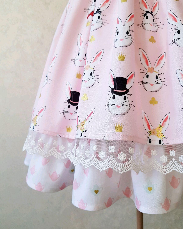 Платье с зайками из американского хлопка