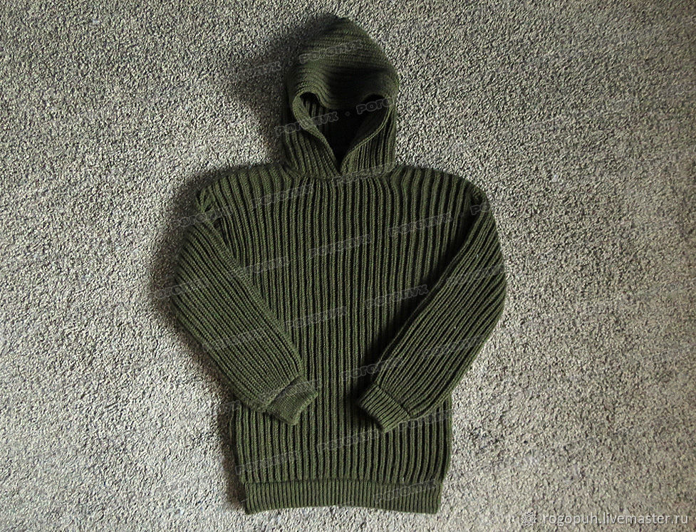 Knitted sweater with hood, khaki (No. №438), Mens sweaters, Nalchik,  Фото №1