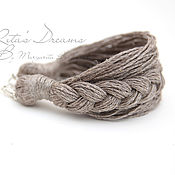 Украшения handmade. Livemaster - original item Linen bracelet, natural gray in a nautical style linen boho eco. Handmade.