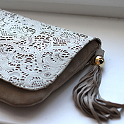Сумки и аксессуары handmade. Livemaster - original item Clutch bag lace beige art. 168. Handmade.