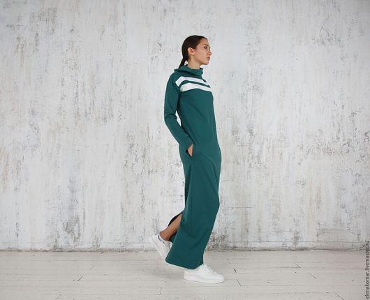 Платья ручной работы. Ярмарка Мастеров - ручная работа. Купить Платье длинное повседневное. Handmade. Тёмно-зелёный, спортивный стиль