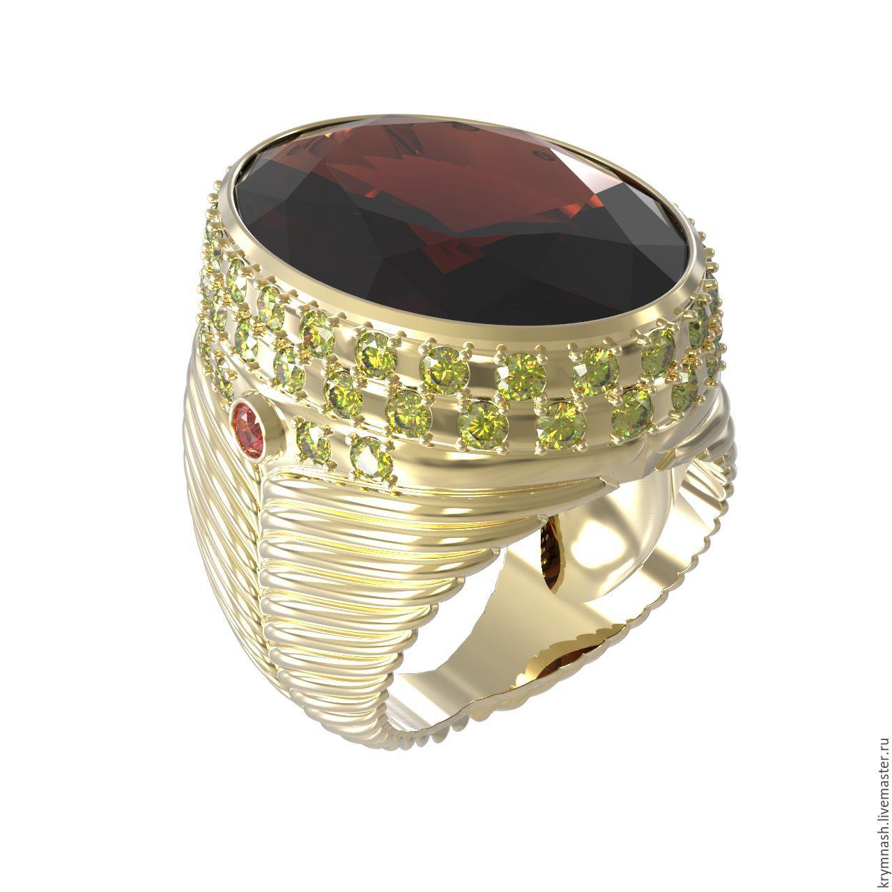 Кольца ручной работы. Ярмарка Мастеров - ручная работа. Купить Золотой  перстень с раухтопазом