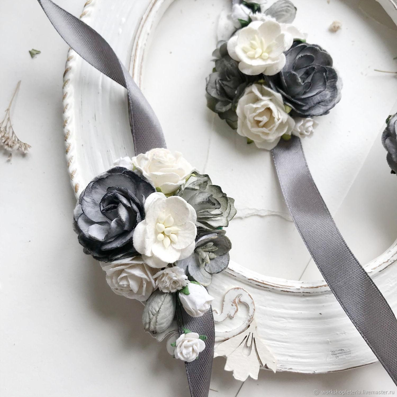 Браслеты для подружек невесты с серыми цветами, Браслеты, Санкт-Петербург,  Фото №1