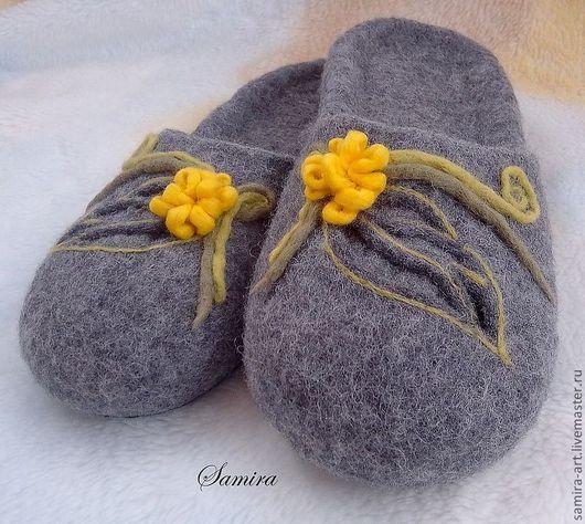 """Обувь ручной работы. Ярмарка Мастеров - ручная работа. Купить Тапочки валяные """"Teana"""". Handmade. Серый, натуральная шерсть, войлок"""