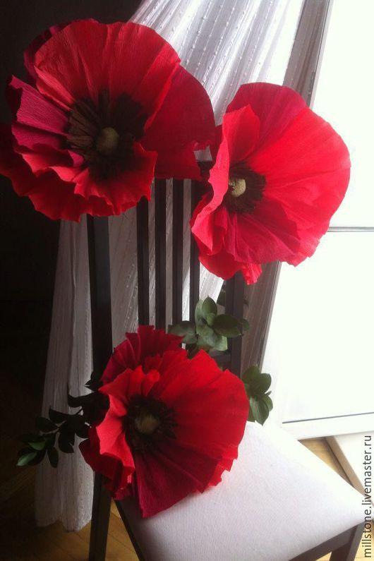 Свадебные цветы ручной работы. Ярмарка Мастеров - ручная работа. Купить маки из бумаги. Handmade. Ярко-красный, цветы из бумаги