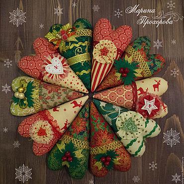 Куклы и игрушки ручной работы. Ярмарка Мастеров - ручная работа Сердечки Тильда новогодние. Handmade.