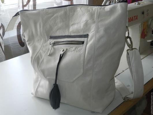 Женские сумки ручной работы. Ярмарка Мастеров - ручная работа. Купить сумка белая большая через плечо. Handmade. Однотонный