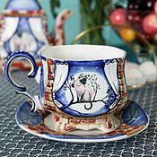 """Посуда handmade. Livemaster - original item Чайная фарфоровая пара """"Лунный кот"""". Handmade."""