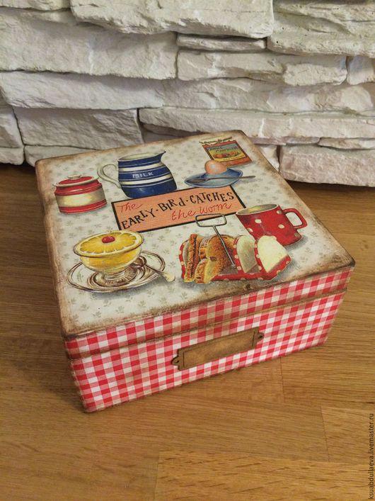 Кухня ручной работы. Ярмарка Мастеров - ручная работа. Купить Шкатулка для чая. Handmade. Ярко-красный, шкатулка, деревянная