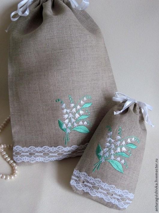 Льняной Мешочек с вышивкой ЛАНДЫШИ - оригинальный и очень практичный подарок на день рождения, на 8 марта!