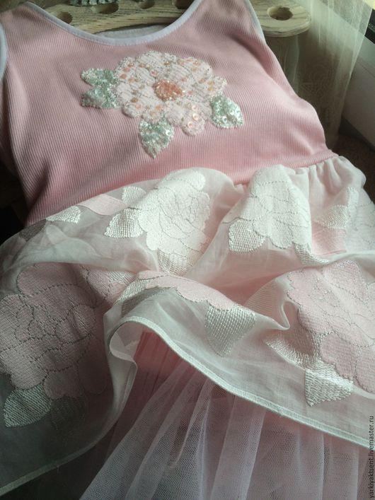 Одежда для девочек, ручной работы. Ярмарка Мастеров - ручная работа. Купить Платье ПЛТЛ 2063. Handmade. Бледно-розовый