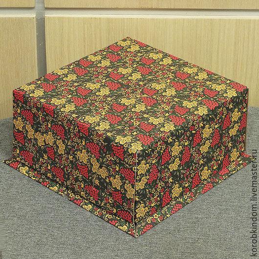 """Упаковка ручной работы. Ярмарка Мастеров - ручная работа. Купить Коробка 21х21х10 """"крышка-дно"""" хохлома микрогофрокартон. Handmade. Коробочка"""
