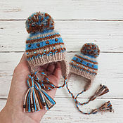 Куклы и игрушки handmade. Livemaster - original item Hat for doll.Chocolate-blue stripe. The circumference of your head doll 18-20cm. Handmade.