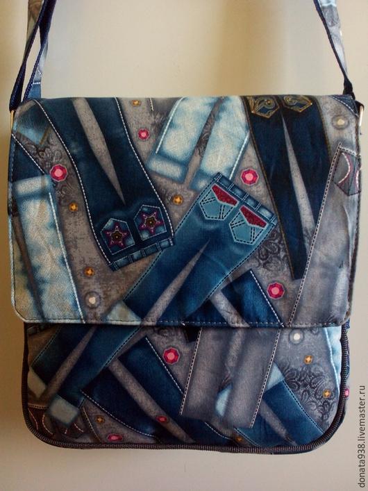 """Женские сумки ручной работы. Ярмарка Мастеров - ручная работа. Купить Сумка-планшет """" Джинсы"""". Handmade. Разноцветный"""
