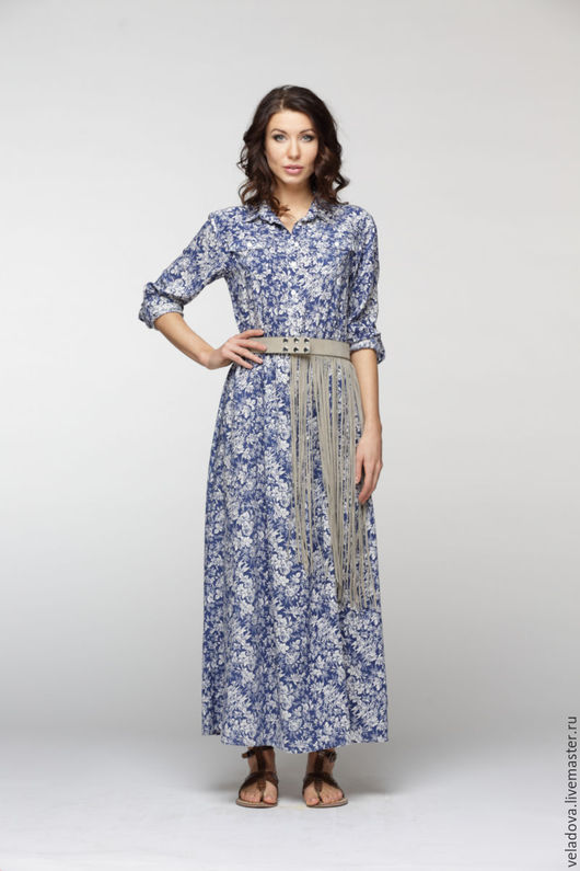 """Платья ручной работы. Ярмарка Мастеров - ручная работа. Купить Платье рубашка """"Гжель"""". Handmade. Синий, сине белый, кантри"""