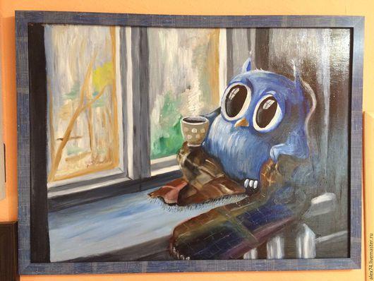Животные ручной работы. Ярмарка Мастеров - ручная работа. Купить Совенок. Handmade. Тёмно-синий, сова, дом, уют, тепло