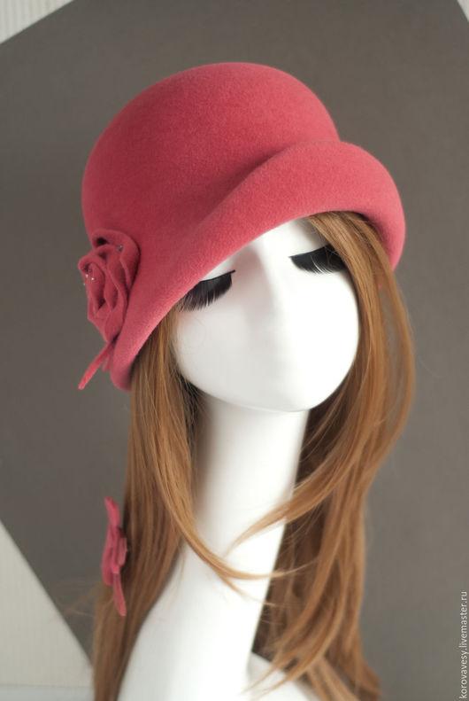 """Шляпы ручной работы. Ярмарка Мастеров - ручная работа. Купить """"Коралловый клош"""". Handmade. Коралловый, женская мода, подарок девушке"""