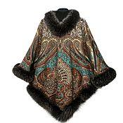 Одежда handmade. Livemaster - original item Poncho from scarf with fur. Handmade.