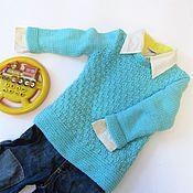 Работы для детей, ручной работы. Ярмарка Мастеров - ручная работа Вязаный голубой детский джемпер для мальчика или для девочки. 3-4 года. Handmade.
