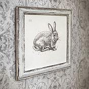 Картины и панно ручной работы. Ярмарка Мастеров - ручная работа картина Милый зайчик (в рамочке состаренной вручную, шебби шик, белый). Handmade.
