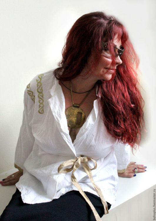"""Блузки ручной работы. Ярмарка Мастеров - ручная работа. Купить Хлопковая блузка размера плюс """"Леди бохо"""". Handmade. Белый"""