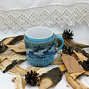 Посуда handmade. Livemaster - original item Mugs: Mug in knitted sweater blue dream. Handmade.