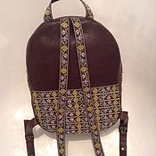 Backpacks handmade. Livemaster - original item Backpack pattern from lace from the skin of two colors. Handmade.