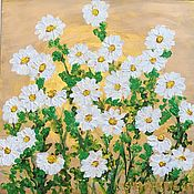 Картины и панно handmade. Livemaster - original item Painting on a golden background of daisies in the sun