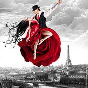 Картина маслом на холсте - Парящие над Парижем. Светится в темноте