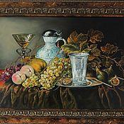 Картины ручной работы. Ярмарка Мастеров - ручная работа Картина маслом на холсте Натюрморт с серебряным бокалом. Handmade.