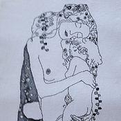 """Картины и панно ручной работы. Ярмарка Мастеров - ручная работа Климт """"Мать и дитя"""". Ручная вышивка, монохром. Handmade."""