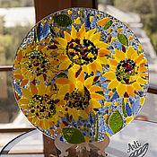 Посуда ручной работы. Ярмарка Мастеров - ручная работа Большое блюдо Подсолнухи цветное стекло. Handmade.