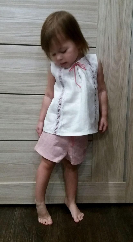 Льняной костюм для девочки